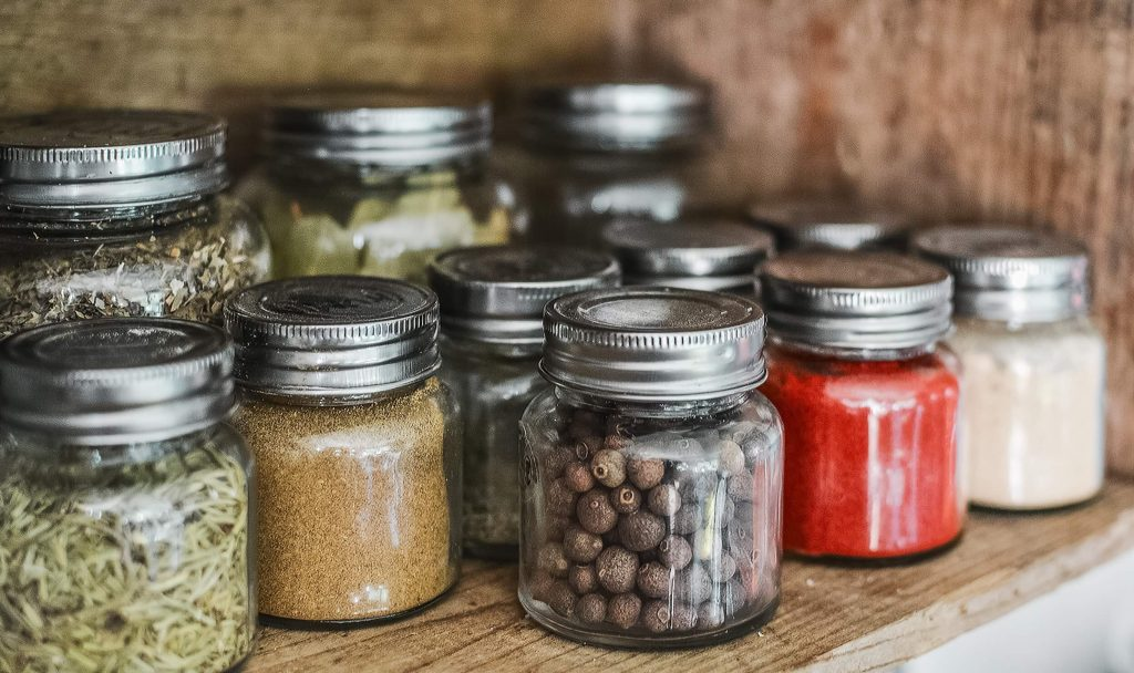 glass containers reused for storing zero waste bulk food