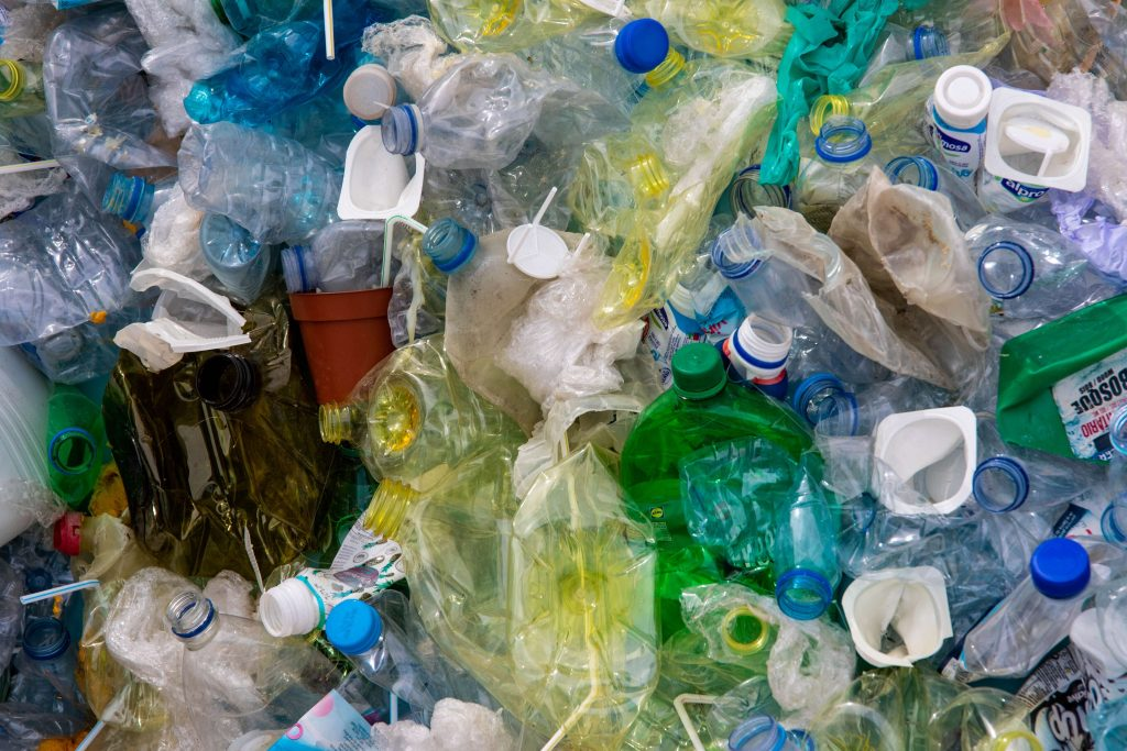 piles of recyclable materials like bottles and containers