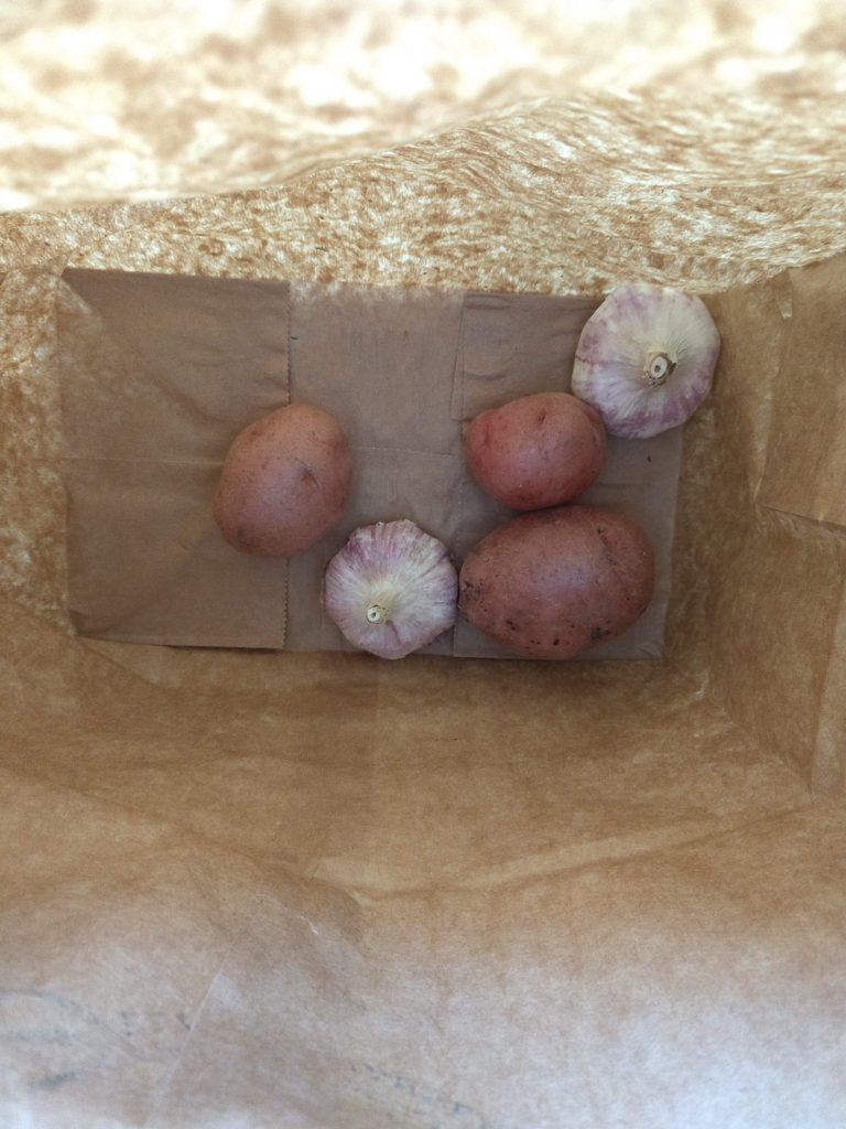 potatoes and garlic in paper bag to store without plastic