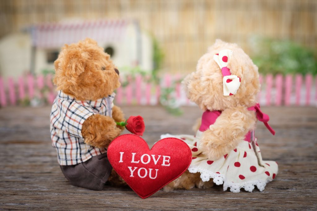 """teddy bears holding stuffed hearts and roses that say """"I love you"""""""