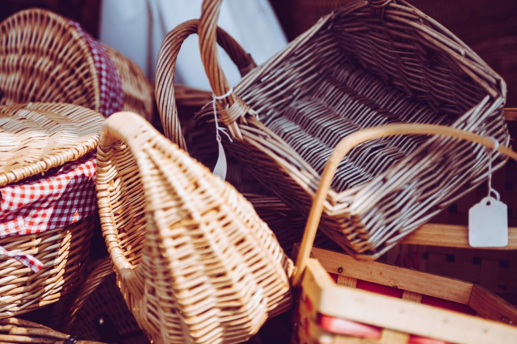 baskets in a pile