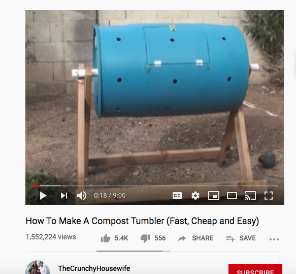screenshot of the youtube video on how to compost with a tumbler