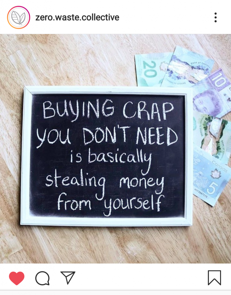 "chalkboard that says ""buying crap you don't need is basically stealing money from yourself"""