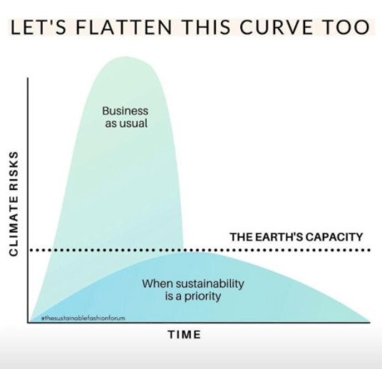"""a picture of two curves - one with higher climate risks past the earth's capacity labeled """"business as usual"""" and one under the line labeled """"when sustainability is a priority"""""""