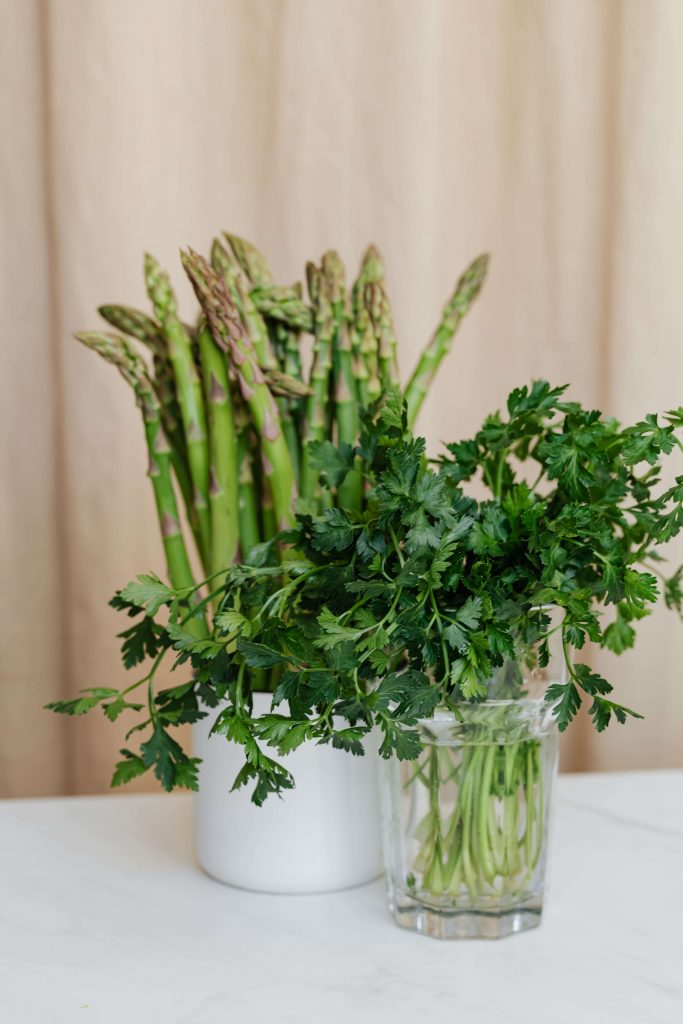 asparagus standing in jar with herbs growing in glass of water