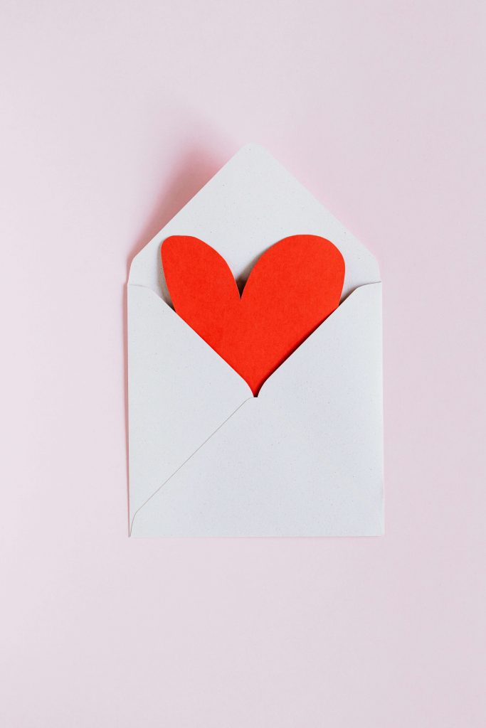 envelope with a red heart inside
