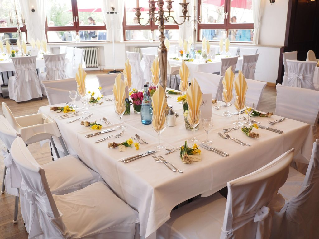 tables covered in white linens
