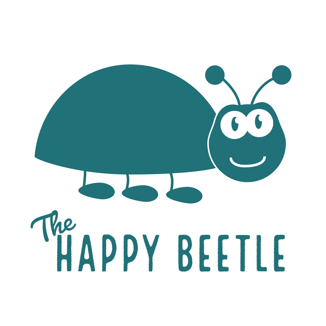 beetle with The Happy Beetle text logo